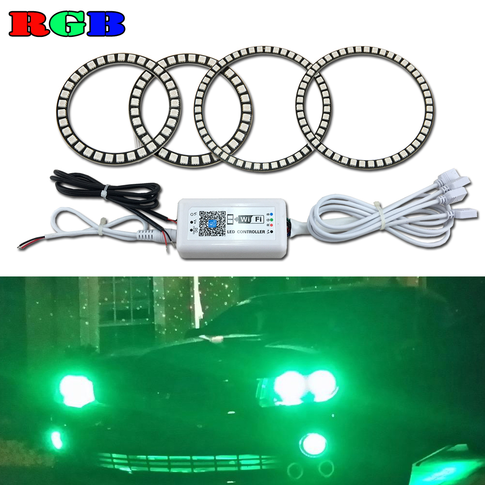 Wifi Control For Volkswagen VW Golf 4 IV MK4 1998-2004 Excellent RGB led Angel Eyes Ultrabright illumination led Halo Ring kit for honda odyssey 4th g rb3 rb4 chassis 2008 present excellent ultrabright headlight illumination ccfl angel eyes kit halo ring