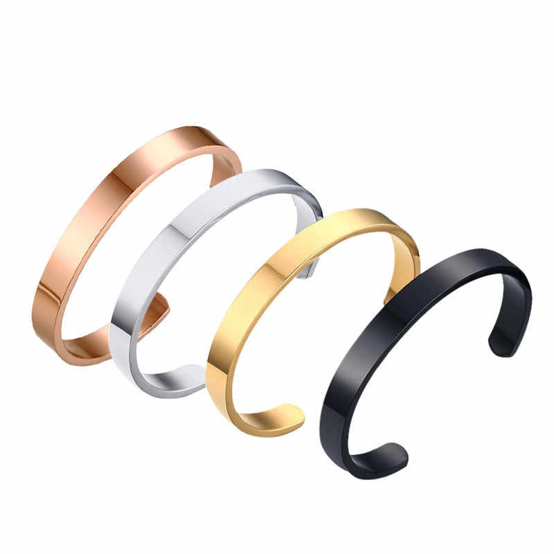 3f029557f9f 8mm Width Surface Stainless Steel Bracelets for Women Men Gold /Silver  /Rose Gold Cuff