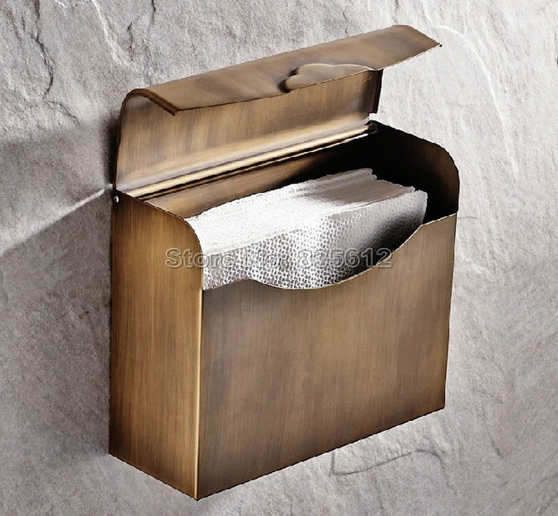 NEW Antique Brass Toilet Paper Roll Holder Box Wall Mounted / Bathroom Accessory Wba301 x 3309 v folded paper dispenser abs plastic wall mounted paper holder home hotel toilet paper box