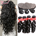 7a Indian Virgin Hair Loose Wave 4 Bundles With Frontal Closure Loose Wave Frontal With Bundles Virgin Indian Hair With Frontal