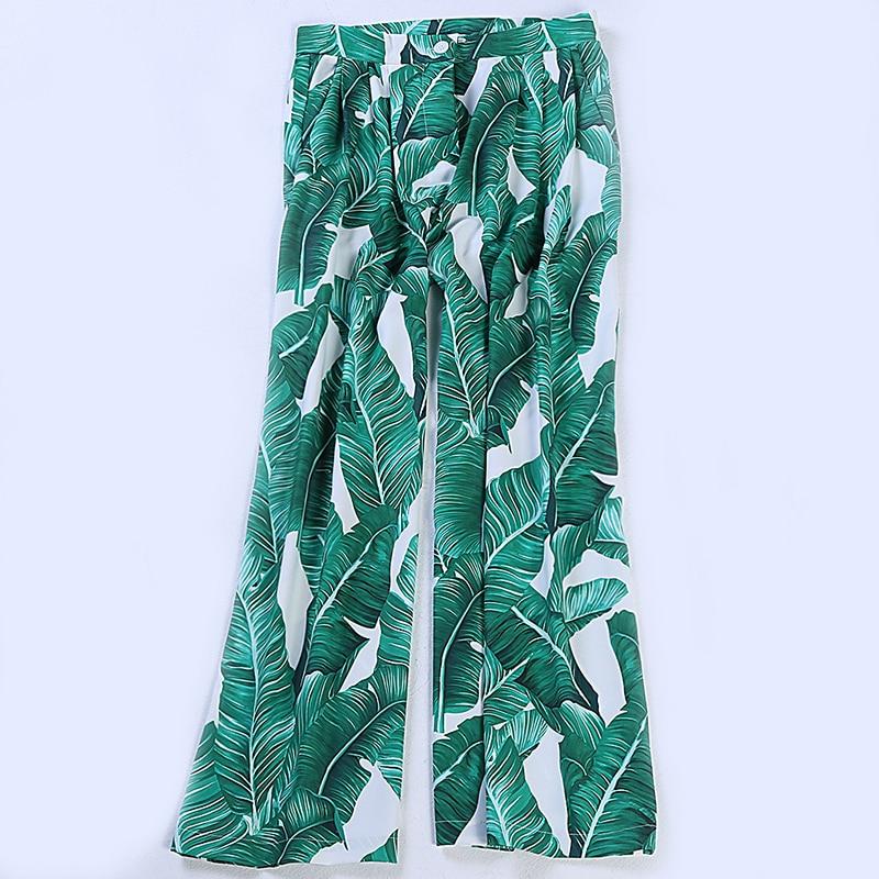 2017 сезон: весна–лето женские знаменитости Ретро Винтаж Высокая талия взлетно посадочной полосы моды зеленый лист печати Широкие брюки - 5