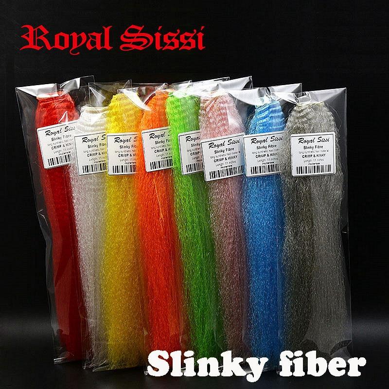 O cabelo perverso sintético longo sortido da fibra slinky de sissi 8 cores/mosca da fibra slinky que amarra materiais para peixes de minnow de clouser