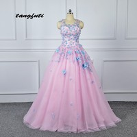Quinceanera Dresses 2018 Ball Gown Long Masquerade Appliques Flowers Corset Sparkly Sweet 16 Dress Quinceanera Prom Party