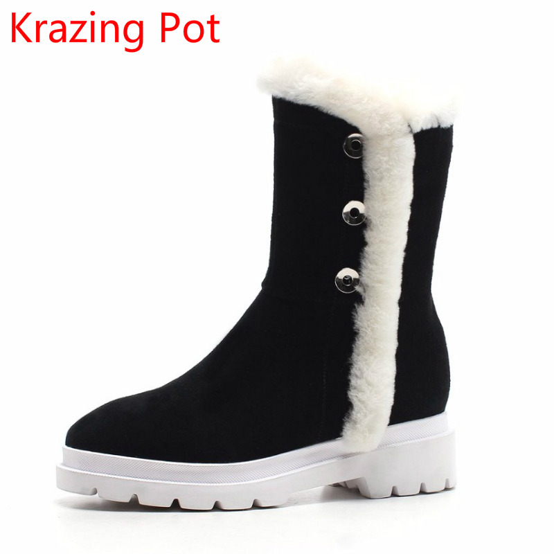 Superstar Cow Suede Leather Boots Platform Zipper Med Heels Rivets Round Toe Snow Boots Keep Warm Mid-calf Boots for Women L2f6 2018 superstar cow suede streetwear square toe zipper high heels winter boots keep warm office lady ankle boots for women l50