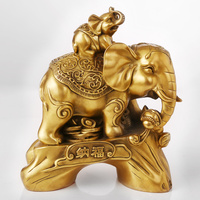 Большой # офисный дом # эффективный Таиланд Индийские Монеты талисманы с рисунком блайд безопасно слон латунная статуя