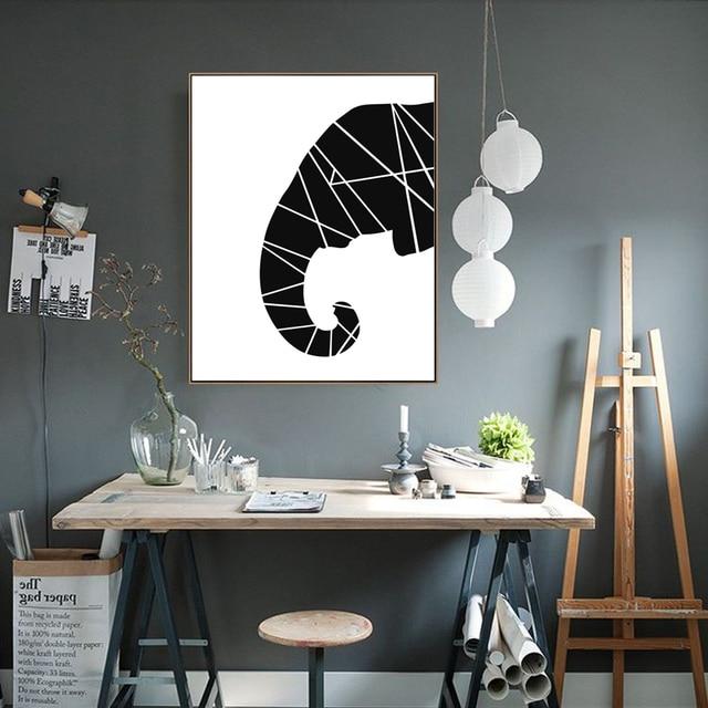 Cartel del arte de la pared del elefante blanco negro arte lienzo ...