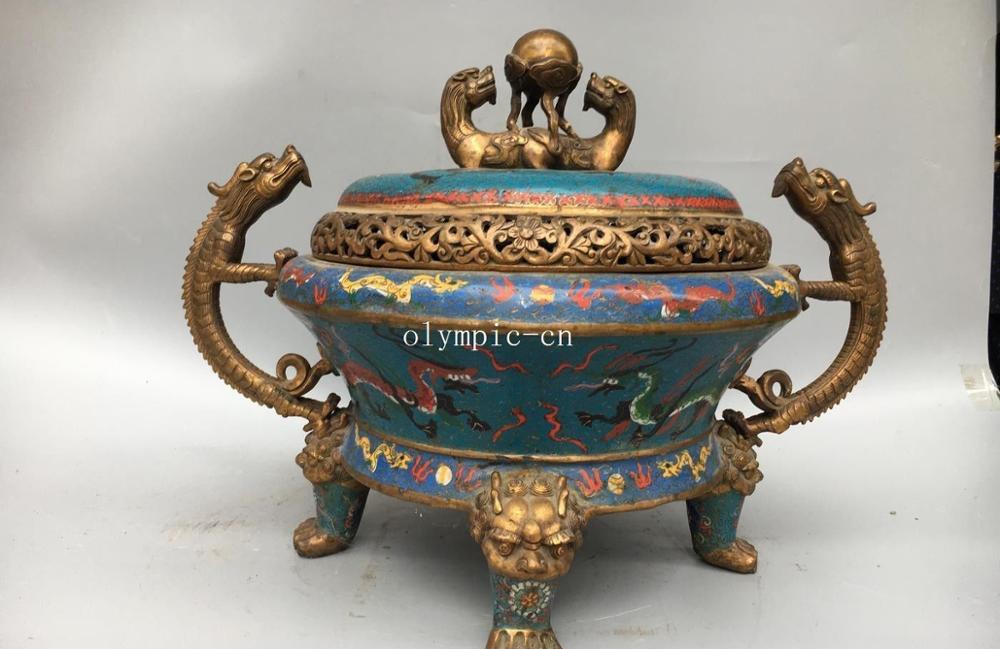 Free Shipping 20''red Copper Gold Cloisonne Enamel Flowers Dragon Lion Kylin Incense Burner