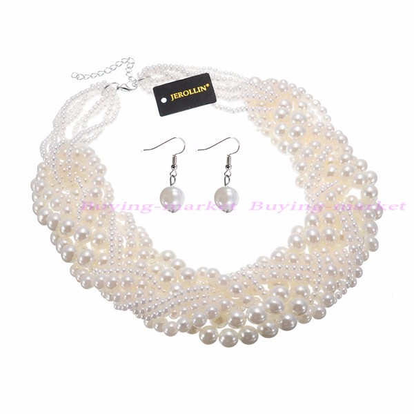 Twisted Pearl Choker Necklace and Earrings Set