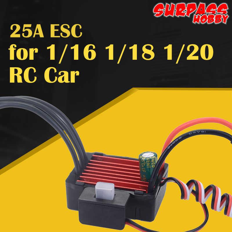 Superar HOBBY KK sin escobillas 25A CES impermeable eléctrico controlador de velocidad para RC 1/16 1/18 1/20 RC coche 2430, 2435, 2440 2445 Motor