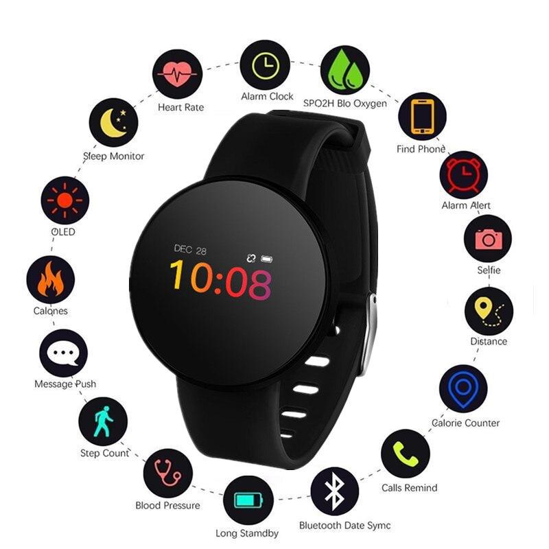 Corazón Monitor de ritmo inteligente reloj de las mujeres de los hombres de la presión arterial podómetro corriendo pantalla táctil OLED Smartwatch impermeable Fitness deporte reloj