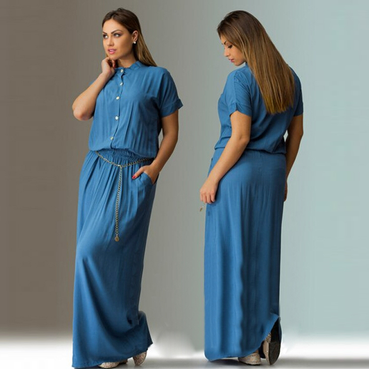 Womens Maxi Dress Solid Long Dresses Short Sleeve Casual O Neck Plus