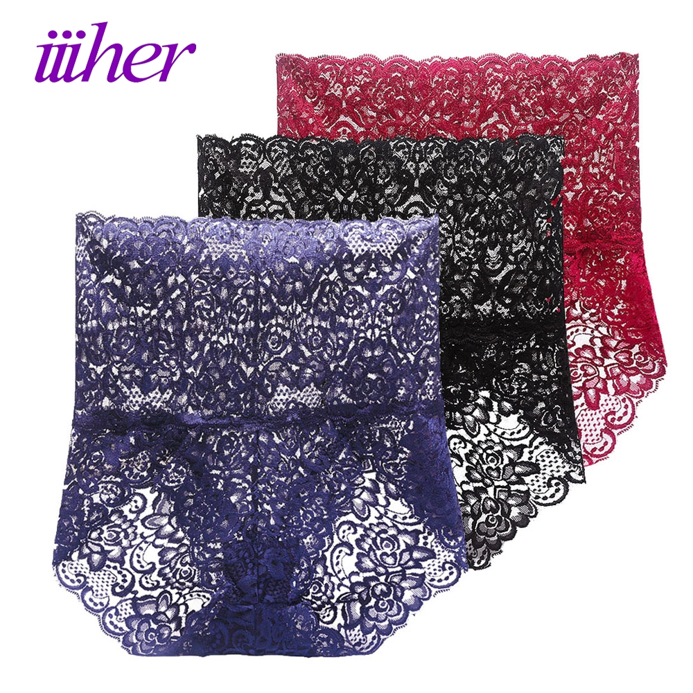 Buy iiiher Women Underwear High Waist Sexy Top Lace Seamless Transparent Panties Lace Women Briefs Bragas Knickers Culotte Femme
