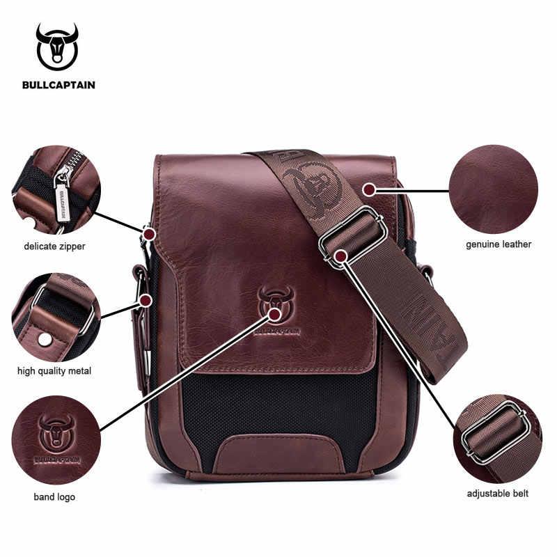 74628bf1cbc1 ... BULLCAPTAIN мужская сумка-почтальонка для мужчин пояса из натуральной  кожи сумки на плечо Бизнес Crossbody ...