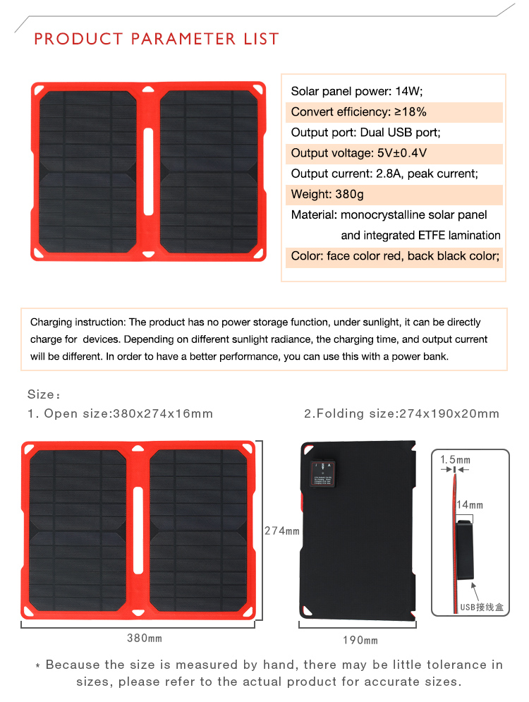 PowerGreen Solar Power Bag 14W 5V 2A ETFE Mono Solar Panel Folding Solar Charger Power Bank for PhonesPowerGreen Solar Power Bag 14W 5V 2A ETFE Mono Solar Panel Folding Solar Charger Power Bank for Phones