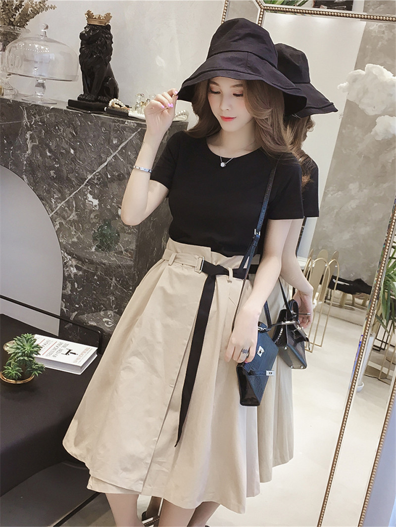 2018 Summer Women Short Sleeve Black T Shirts High Waisted Skirt Sets Chic Slim Tees&a Line Skirts Suits Casual Two Piece Sets