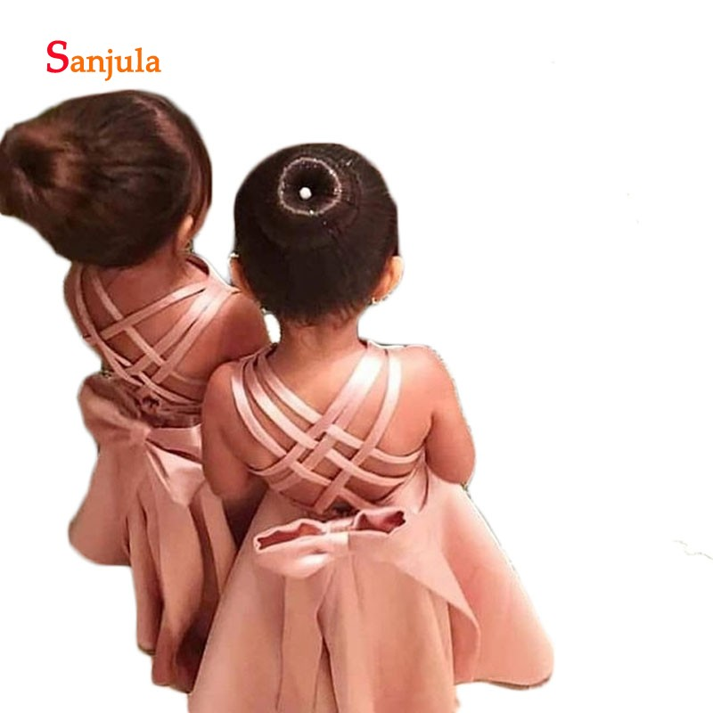 Blush Pink Satin   Flower     Girls     Dresses   A-Line Cute Kids Pageant Party   Dresses   Back Bow Criss-Cross Birthday Party Gown D590