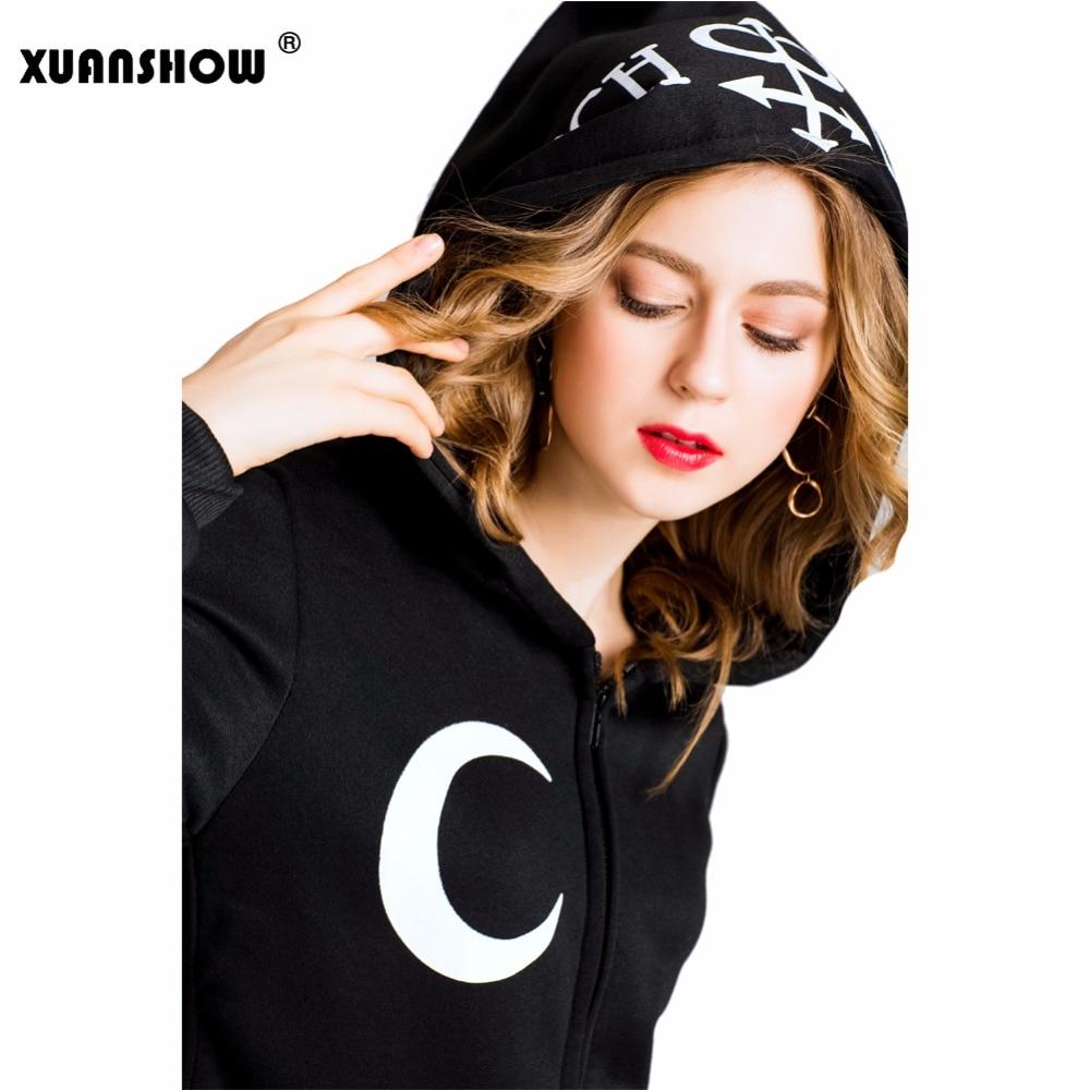 Xuanshow 2019 mulheres hoodies camisolas gótico punk