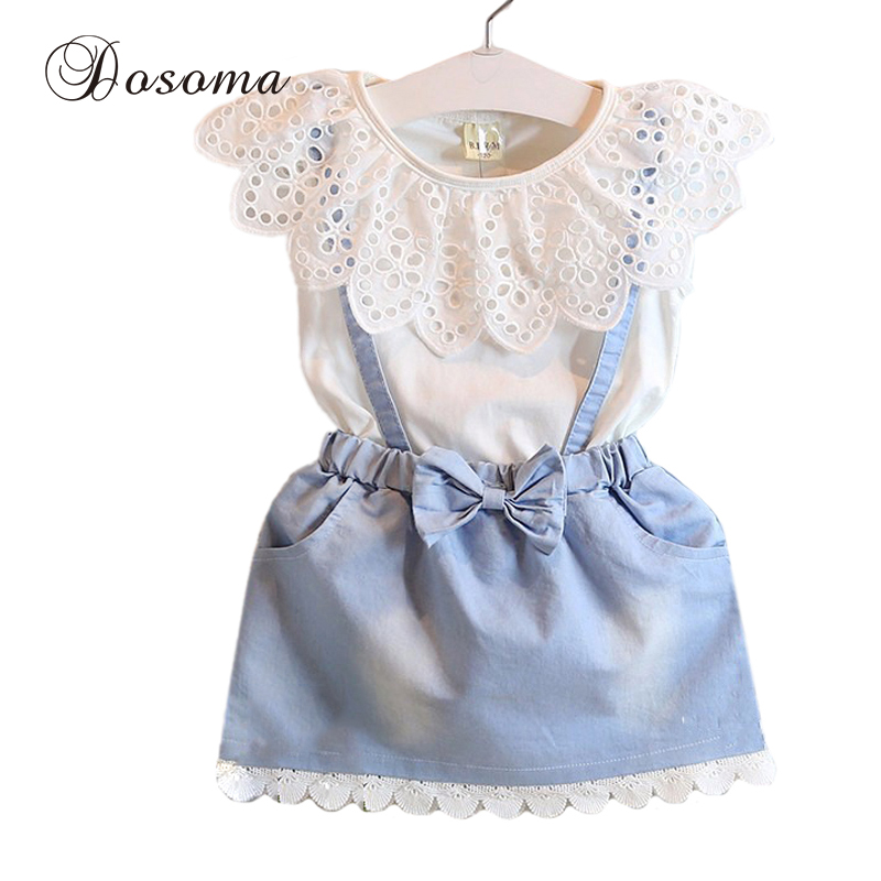 Baby Girl Clothes Lace Bowknot Denim Dress False Two Piece Casual Outfit Clothes