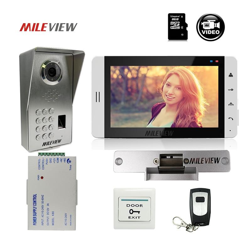 FREE SHIPPING 7 LCD Monitor Record Video Intercom Door Phone System + Fingerprint Code Keypad Unlock Door Camera Strike E-Lock