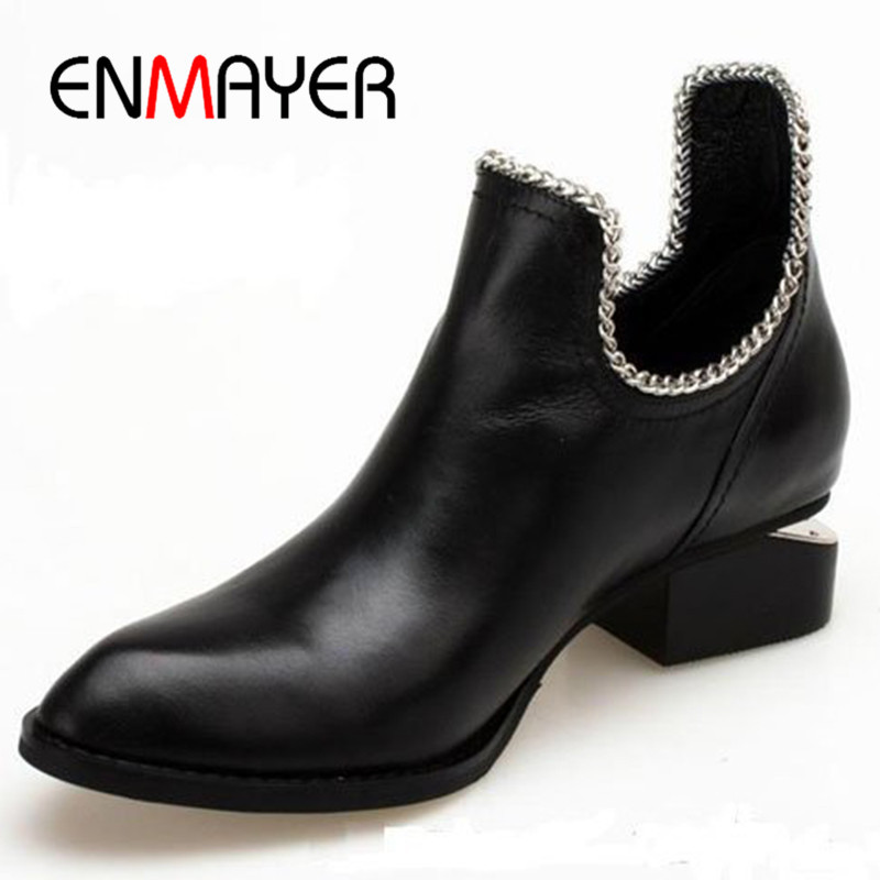 ENMAYER New Spring and Autumn Shoes Woman Low Heels Platform Shoes Ankle Boots for Women Size 34-39 Slip-on Classic Black Shoes sweet loafers women heels shoes for spring women ballet shoes breathable heels shoes autumn shoes orientpostmark