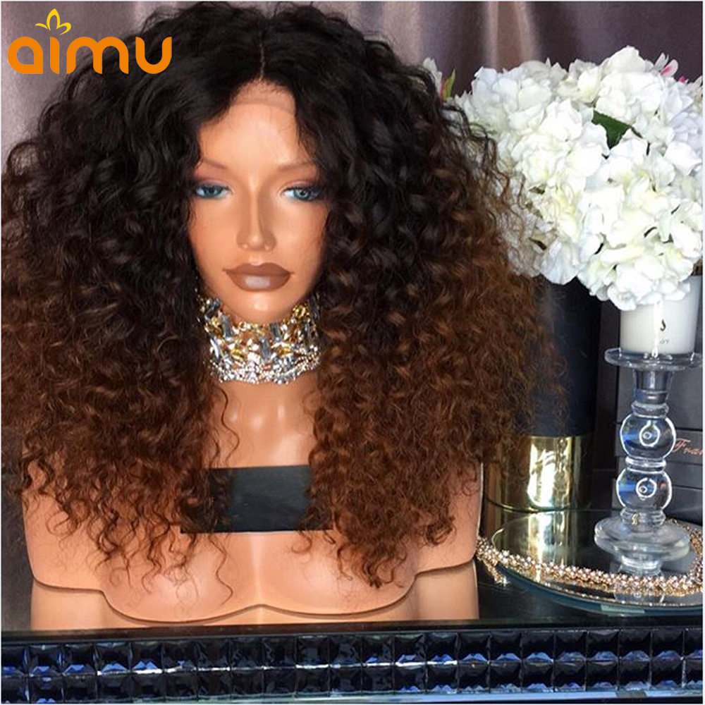 13X6 Pre Plucked Curly Ombre Human Hair Lace Front Wig With Baby Hair 250 Density Brazilian
