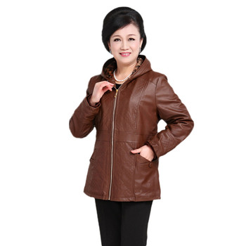 Winter women leather jacket 2018 fashion new middle-aged thick large size 2XL-5XL PU leather Coat female hooded outerwear DT0169
