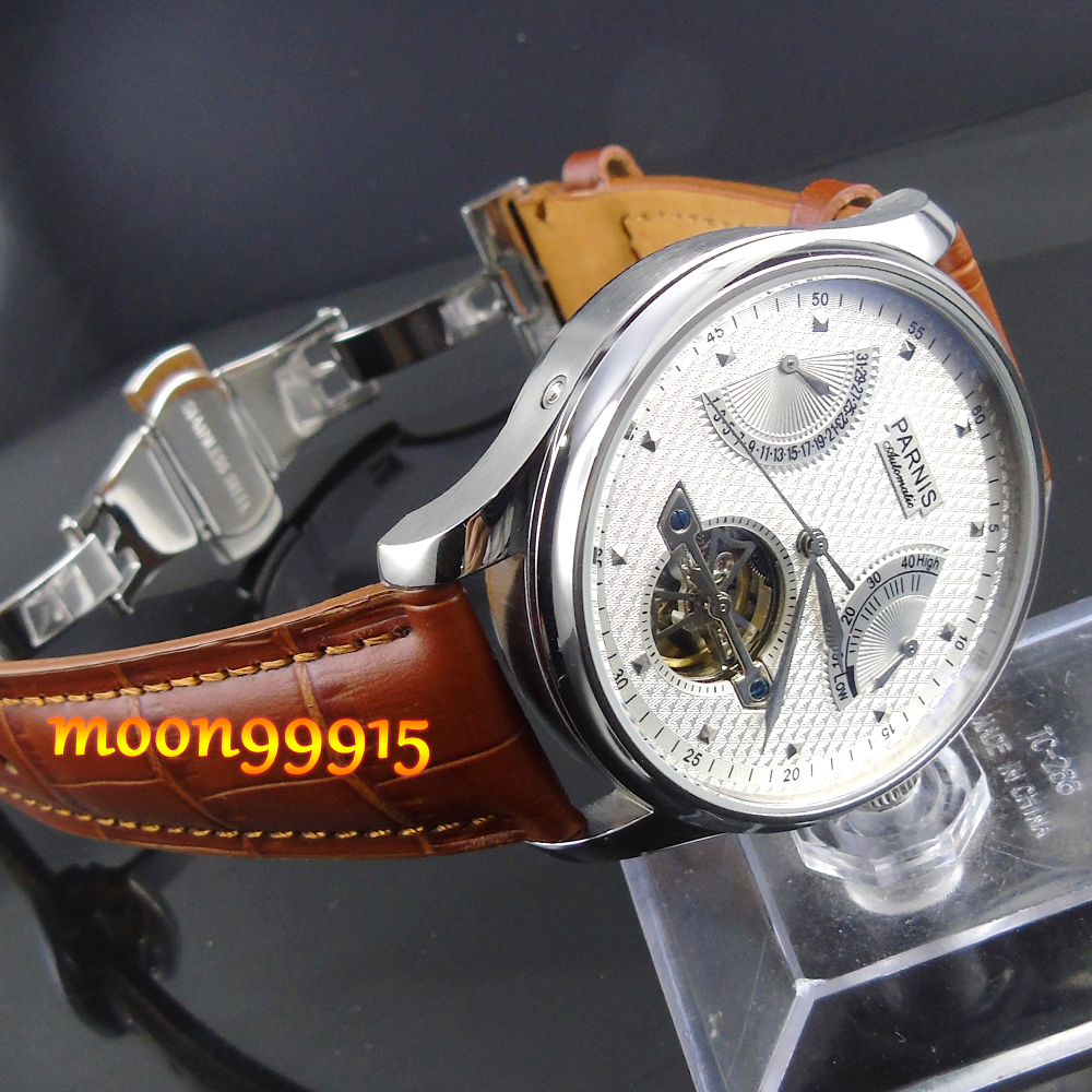 Parnis 43mm Luxury White dial Power Reserve Mens Watch p022Parnis 43mm Luxury White dial Power Reserve Mens Watch p022