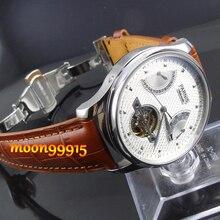 Parnis 43mm esfera Blanca Power Reserve Gaviota Reloj Para Hombre de Lujo p022