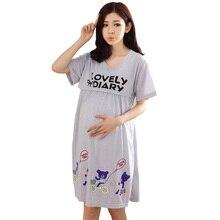 2019 Maternity Breastfeeding Nightgown Cartoon Pregnant Nursing Pyjamas Sash Casual Pregnancy Nightdress Clothes Sleepwear