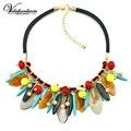 Vodeshanliwen Acrílico Collar de Flores de Resina de La Vendimia de Lujo Maxi Femme Bijoux Declaración Gargantilla Collar de La Joyería al por mayor