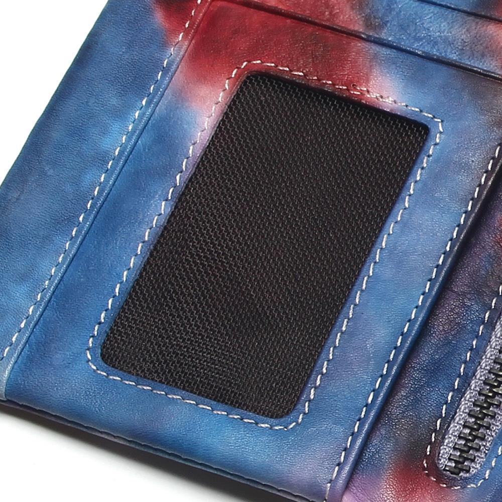 Vache Section Dames Nouvelles gradient Cuir Longue Embrayages Zipper En Grande Capacité cartes Couleur Multi monnaie Color Porte Croix Fermoir w81d1q