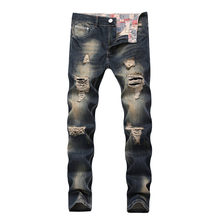 Fashion Ripped Jeans Men Patchwork Hollow Out Printed Beggar Cropped Pants Man Cowboys Demin Pants Male 2019 New Dropshipping(China)