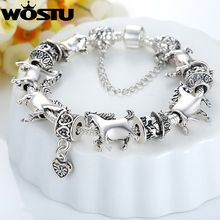 European Silver Unisex Charm fit Bracelet With Silver Beads And Horse Charm Fashion Bijouterie XCH1272