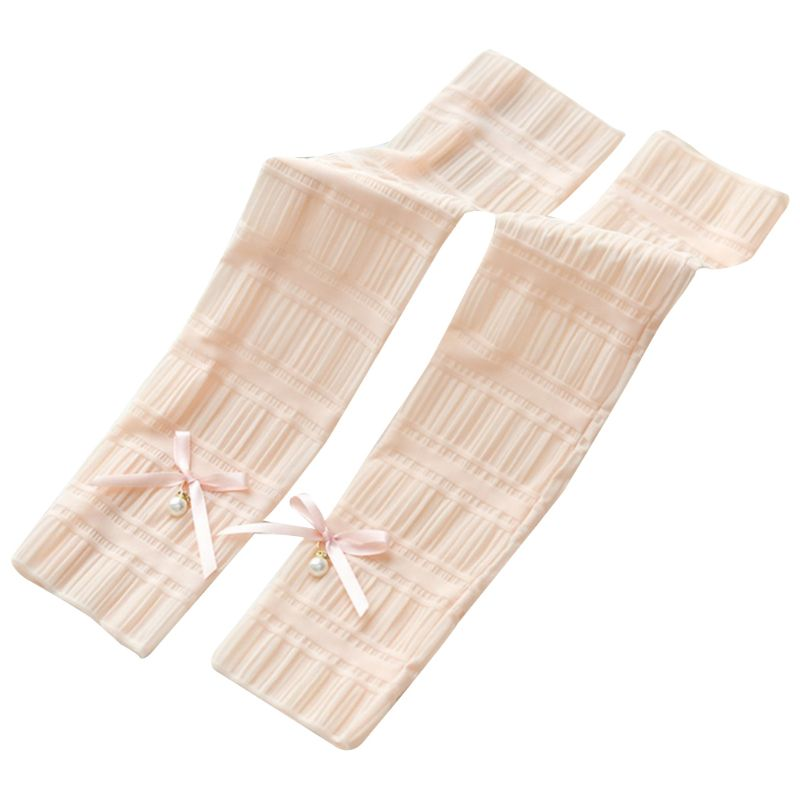 Women Girls Ice Silk Pleated Ruched Half Finger Long Gloves Tiered Lace Sweet Bowknot Decor Arm Sleeves Protector