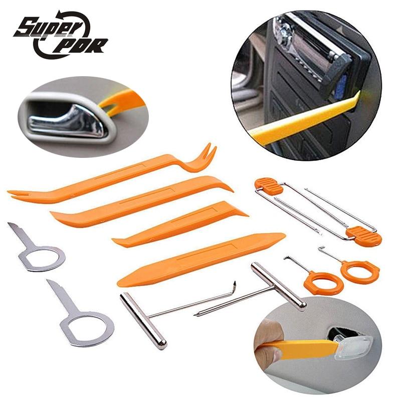 Kit di installazione per autoradio Super PDR 12 pezzi Kit di strumenti per la rimozione di ammaccature senza vernice Strumento per autoradio Pannello per autoradio Pannello per clip porta
