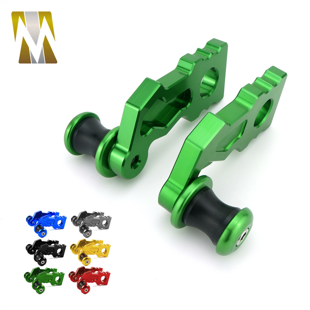 CNC Aluminum Motorcycle Z900 Rear Axle Spindle Chain Adjuster Blocks with Spool Sliders Guard Protector For Kawasaki Z900 2017 цена