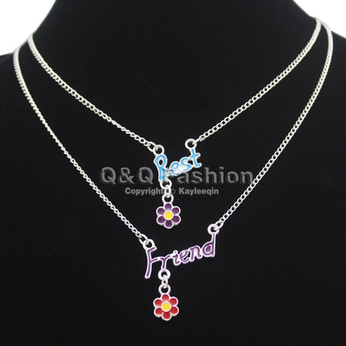 Pack of 2 Colors Best Friend Word Daisy Flower Silver Chain Collar Bib Necklace Jewelry 2018 New