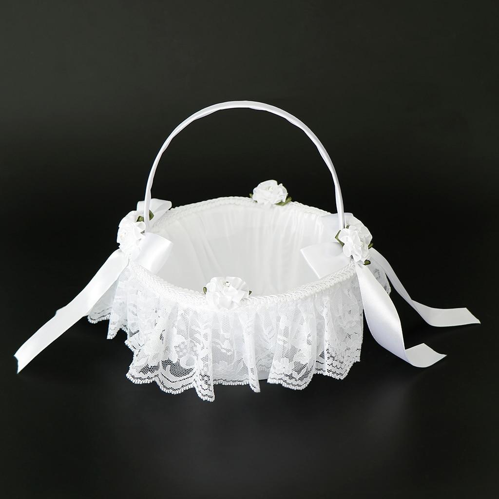 Ivory or White Round Flower Girl Basket Wedding Flower Girl Basket