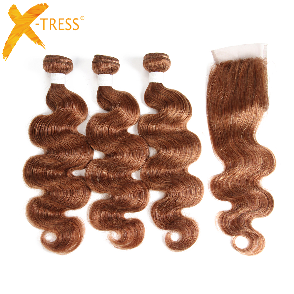 X-TRESS Brazilian Body Wave Human Hair Weave Bundles 3pcs With Lace Closure 4x4 Brown Non-remy Hair Extensions Middle/Free Part