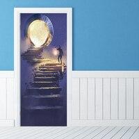 2pcs/set Lamp Steps Self Adhesive Wallpaper Art PVC Wall Sticker Brick Waterproof Wall Paper Door Sticker Home Decor