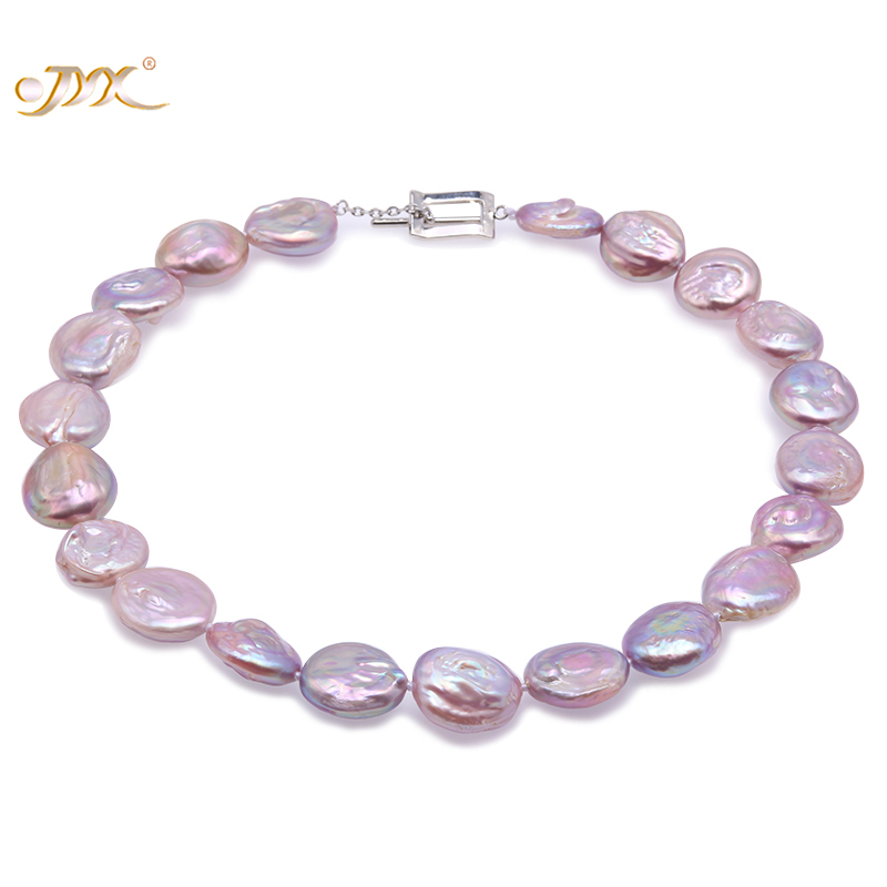 JYX Baroque Pearl Necklace White and Lavender South Sea Freshwater Cultured Necklace Party Jewelry Gift AAA