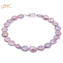 JYX Baroque Pearl Necklace White and Lavender South Sea Freshwater Cultured Necklace Party Jewelry Gift  AAA 18