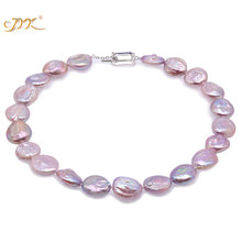 "JYX Baroque Pearl Necklace White and Lavender South Sea Freshwater Cultured Necklace Party Jewelry Gift AAA 18""(China)"