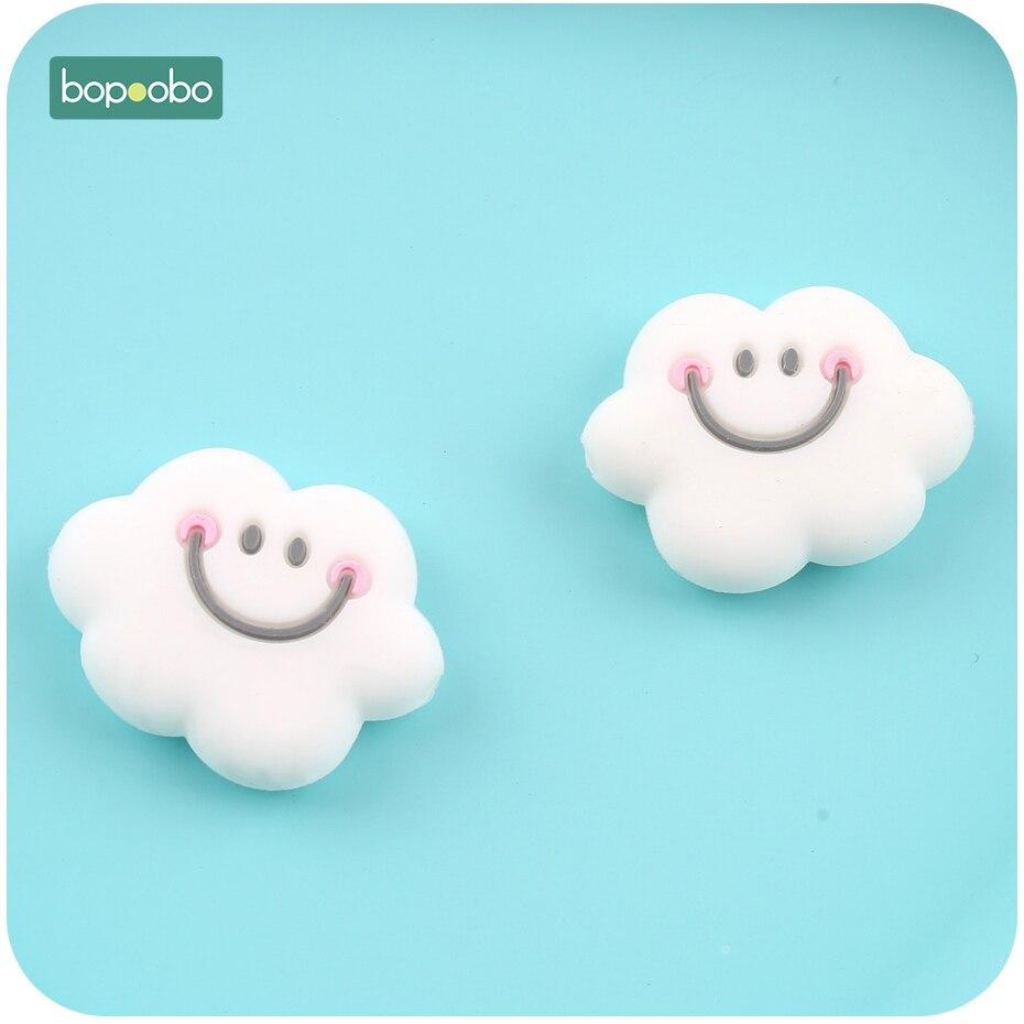 Bopoobo 5pc Silicone Teething Beads Mini Cloud Beads Smiley Cloud beads Baby Nursing Accessories Mini Owl Beads Baby Teether цена 2017