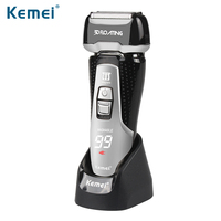 Kemei 2017 New 3D Floating Men Electric Shaver Quick Charge 3 Blades Washable Electric Razor LED
