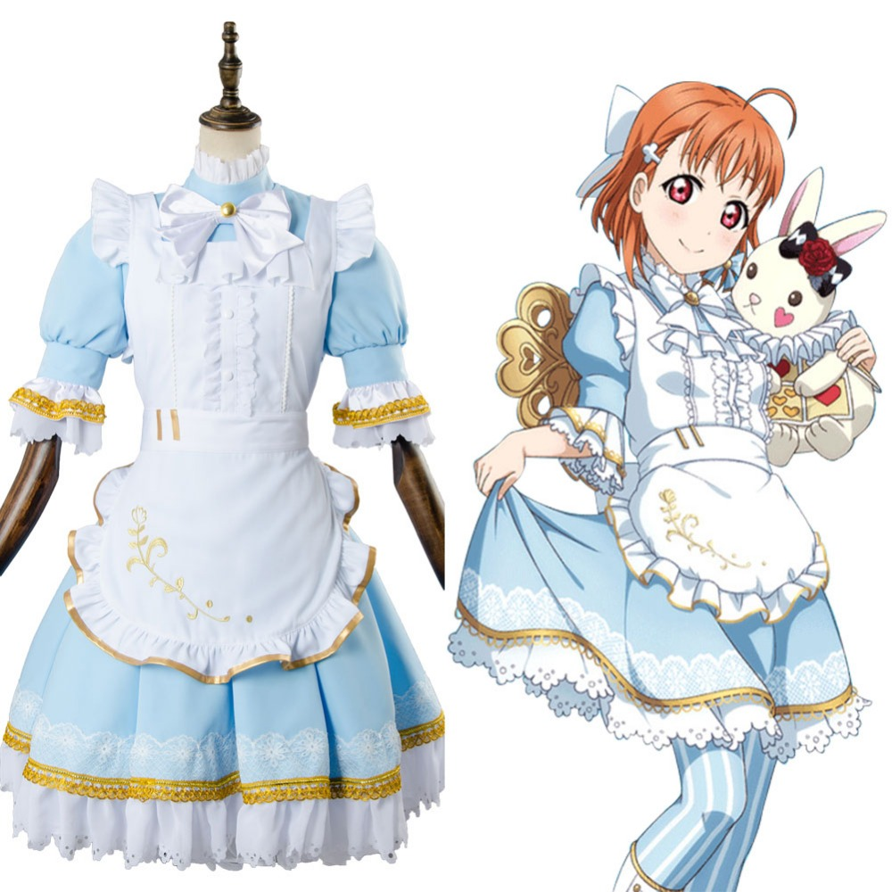 LoveLive!Aqours Chika Takami Wonderland Alice Cosplay Costume Maid Suit Dress Full Set lovelive love live kunikida hanamaru wonderland alice cosplay costume maid suit dress