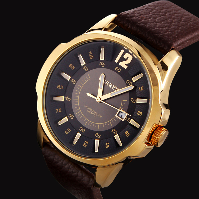 b6dea79f368 Homens Marca CURREN Moda Quartz Relógios de Pulso Cinto de Couro Business  Casual Analógico Esporte relogio