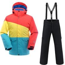 915052b9c1d Saenshing водонепроницаемый лыжный костюм мужские Горные лыжи куртка +  сноуборд брюки дышащий зимний Снежный комплект снегоход