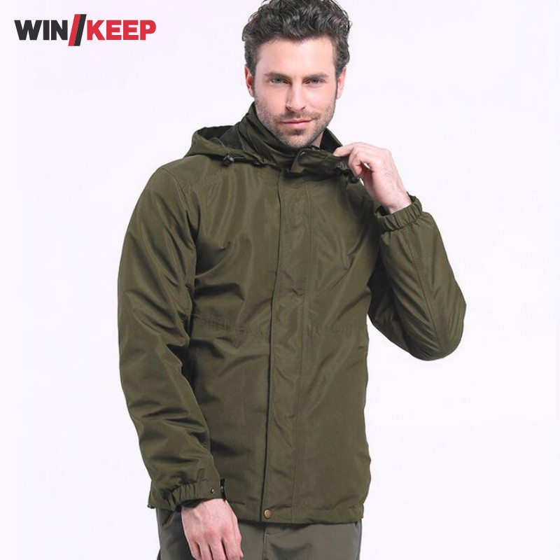 Mens Outdoor Mountain Clothes Polyester Waterproof Thin Style Climbing Jacket Men Overcoat Big Size Windbreaker Coat Veste Homme outdoor carabiner 3 claw grappling hook rock climbing mountain gear
