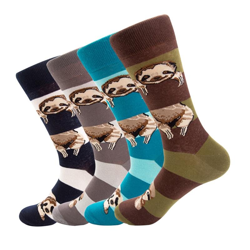Winter Warm Personality Animal Folivora Sloth Autumn Street Style Men's Socks Funny Happy Socks Cotton Men Female Women Socks